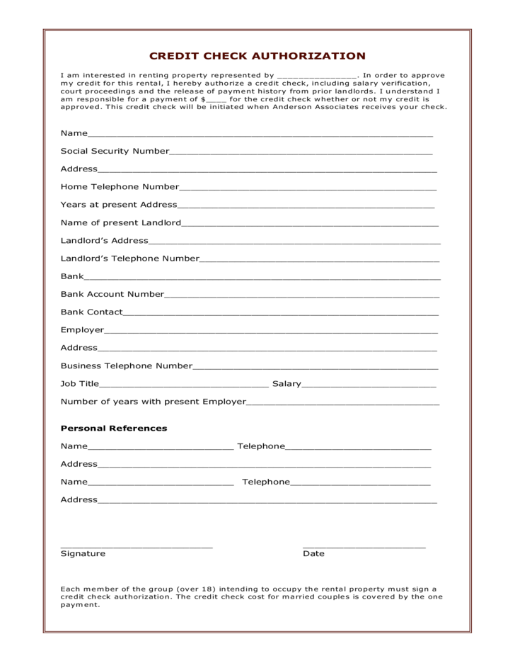 Connecticut Credit Check Authorization Form Free Download
