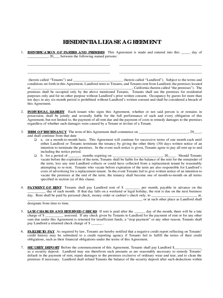 Residental Lease Form