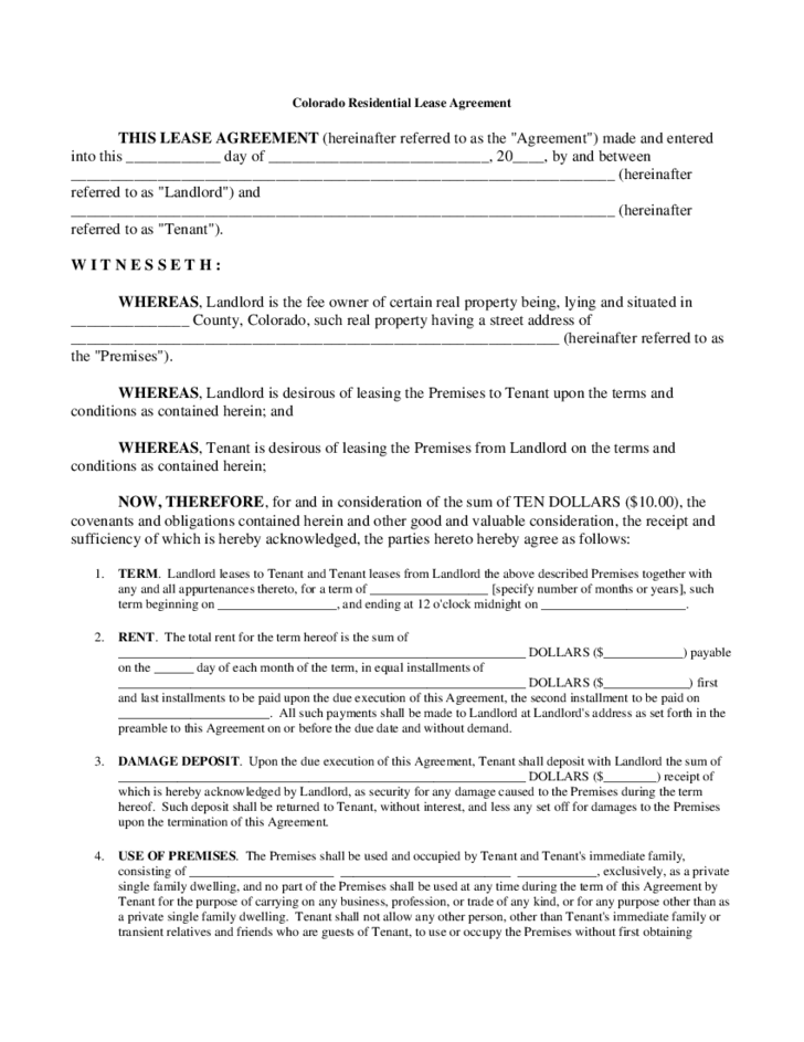 Tenant Lease Form Colorado Free Download