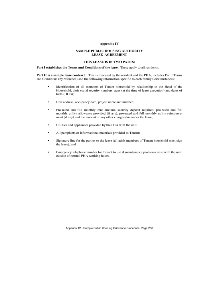 Sample Public Housing Authority Lease Agreement