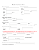 Renters Information Sample Form Free Download