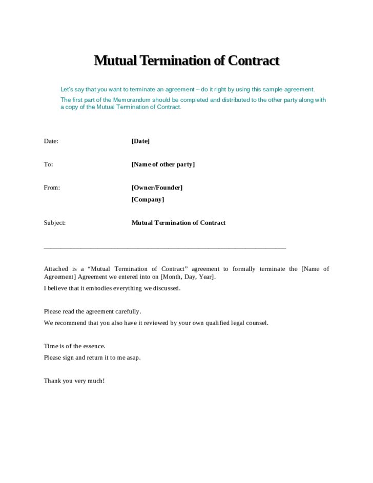 Letter Termination Distribution Contract termination distribution – Sample Agreement Letter