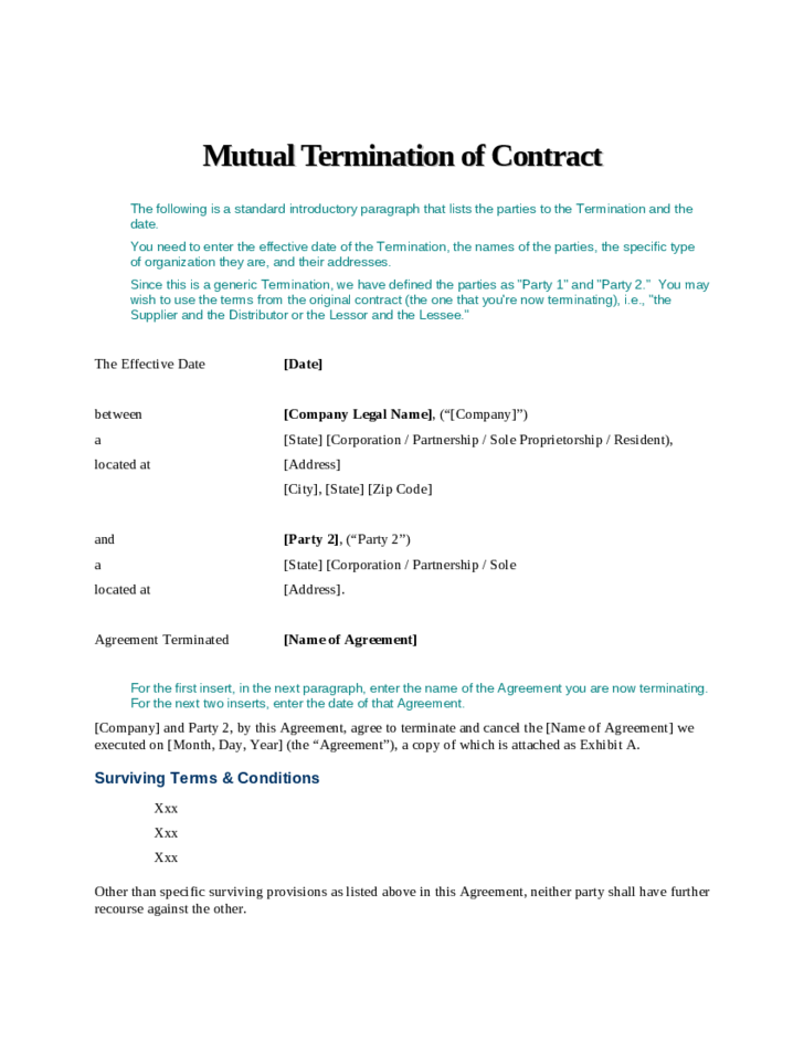 mutual termination of contract free download
