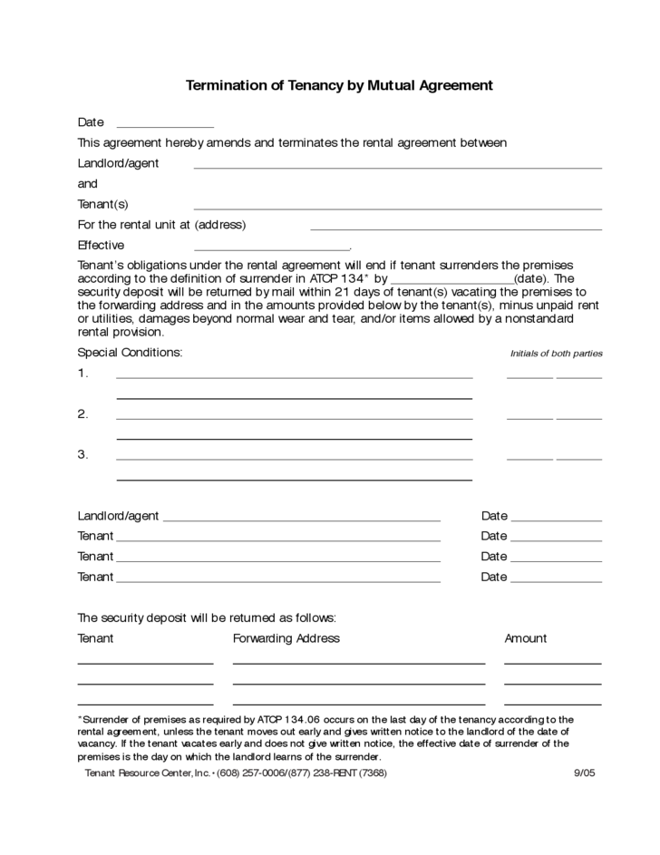 Termination of Tenancy by Mutual Agreement