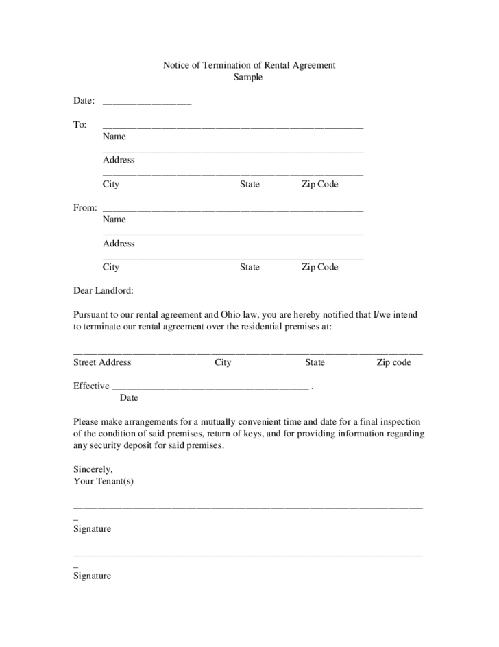 Termination of Contract Template - Ohio