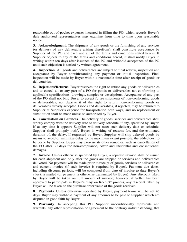 Standard purchase terms and conditions free download for Standard terms and conditions for services template