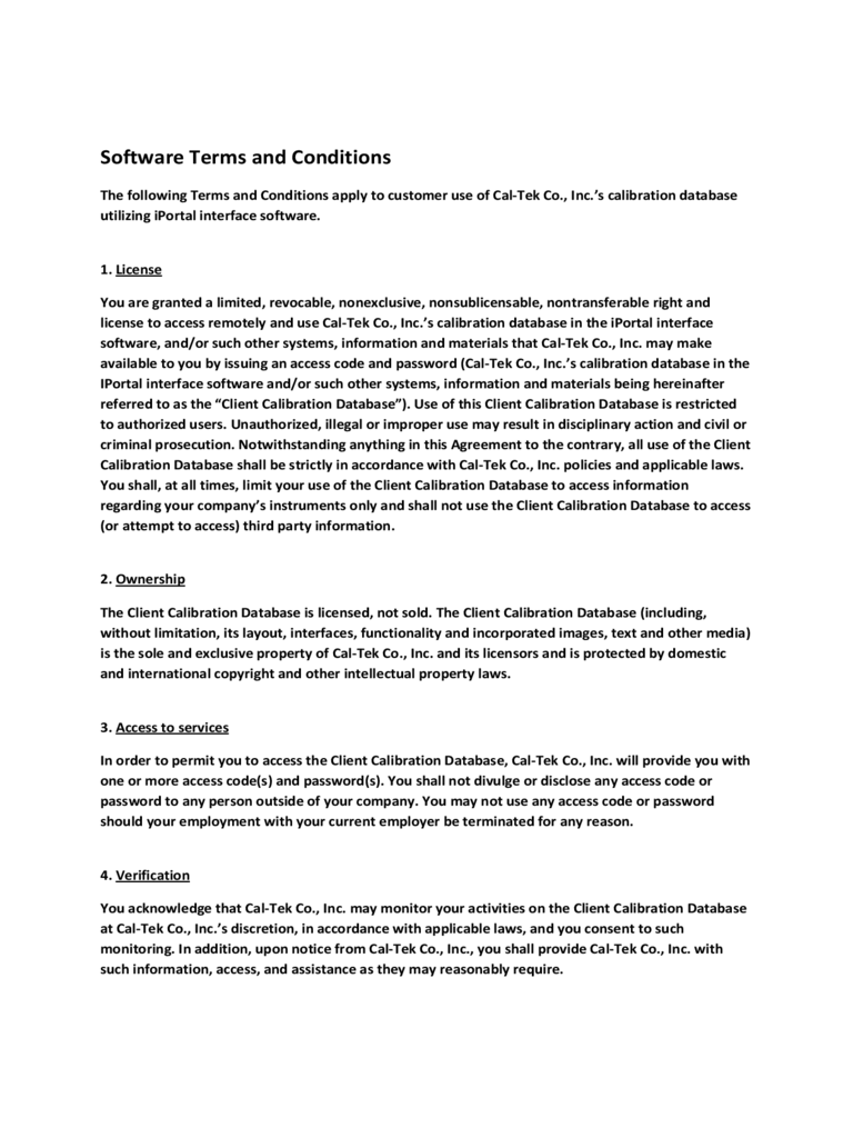 Software Terms and Conditions Template