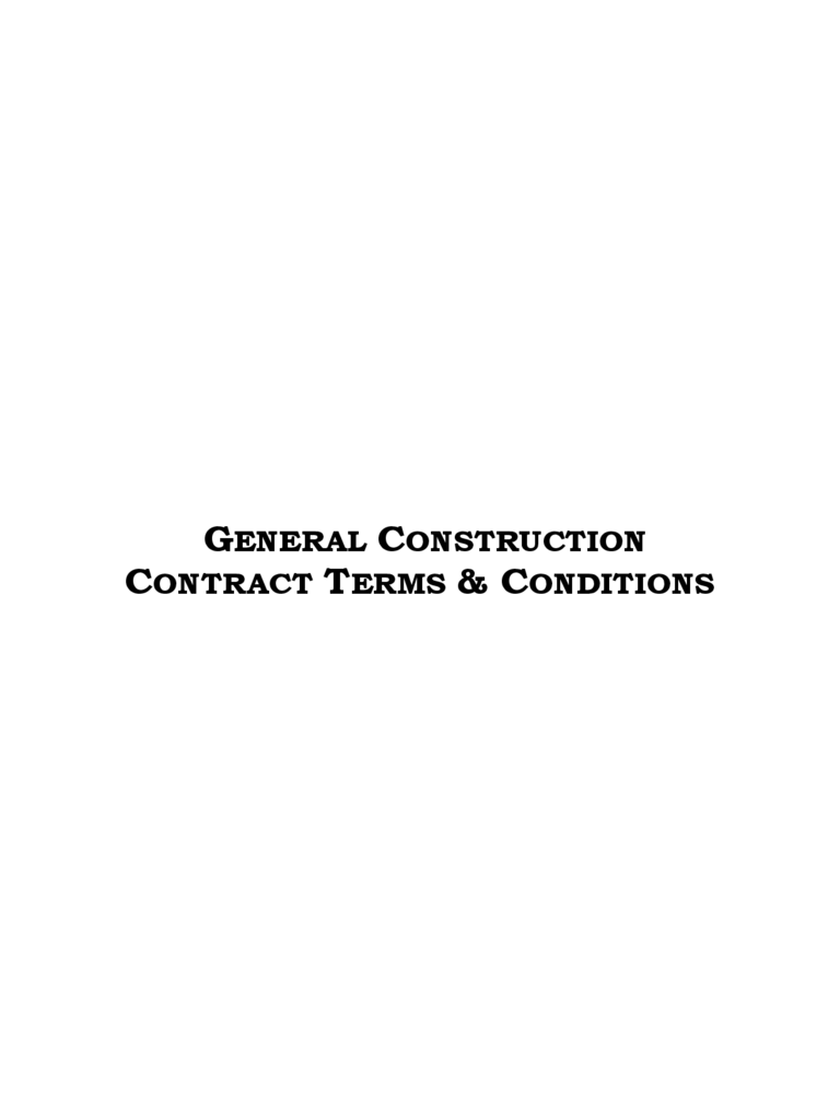 Sample General Terms and Conditions
