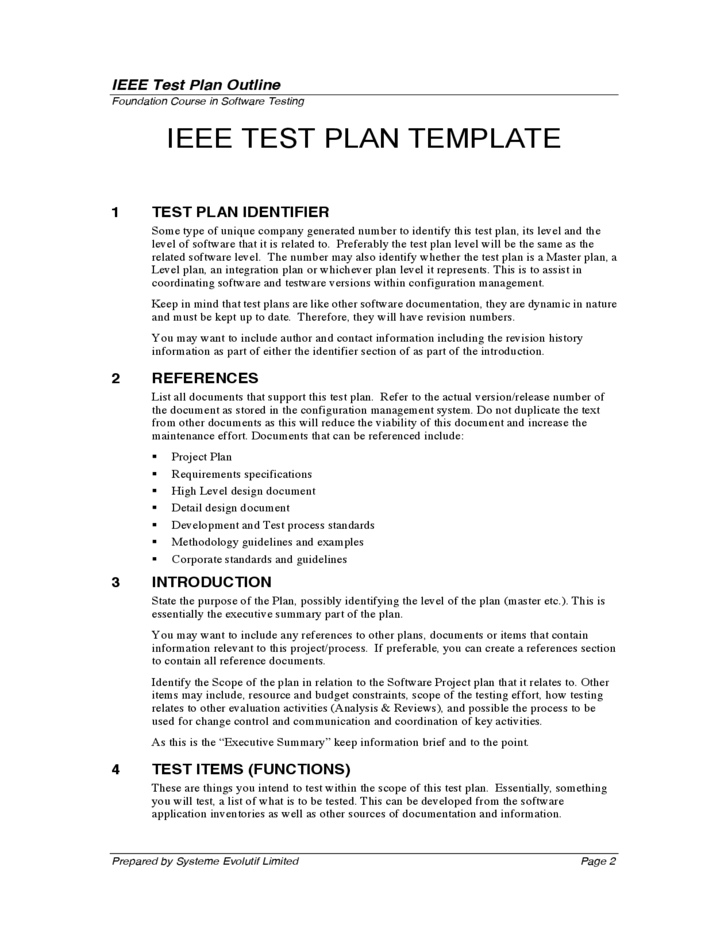 Test plan outline free download for Ieee 829 test strategy template