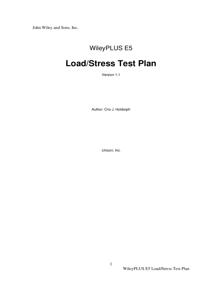 Load and Stress Test Plan