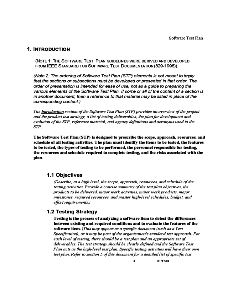 ieee 829 test strategy template - software test plan template free download