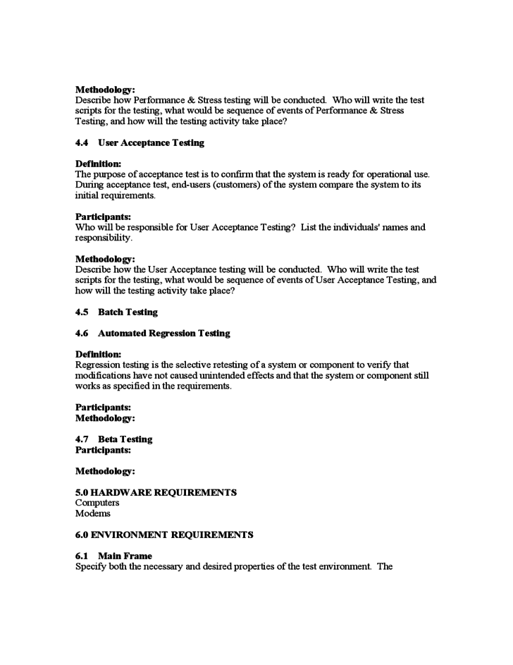 Template For Test Plan U2013 Test Plan Template 11 Free Word