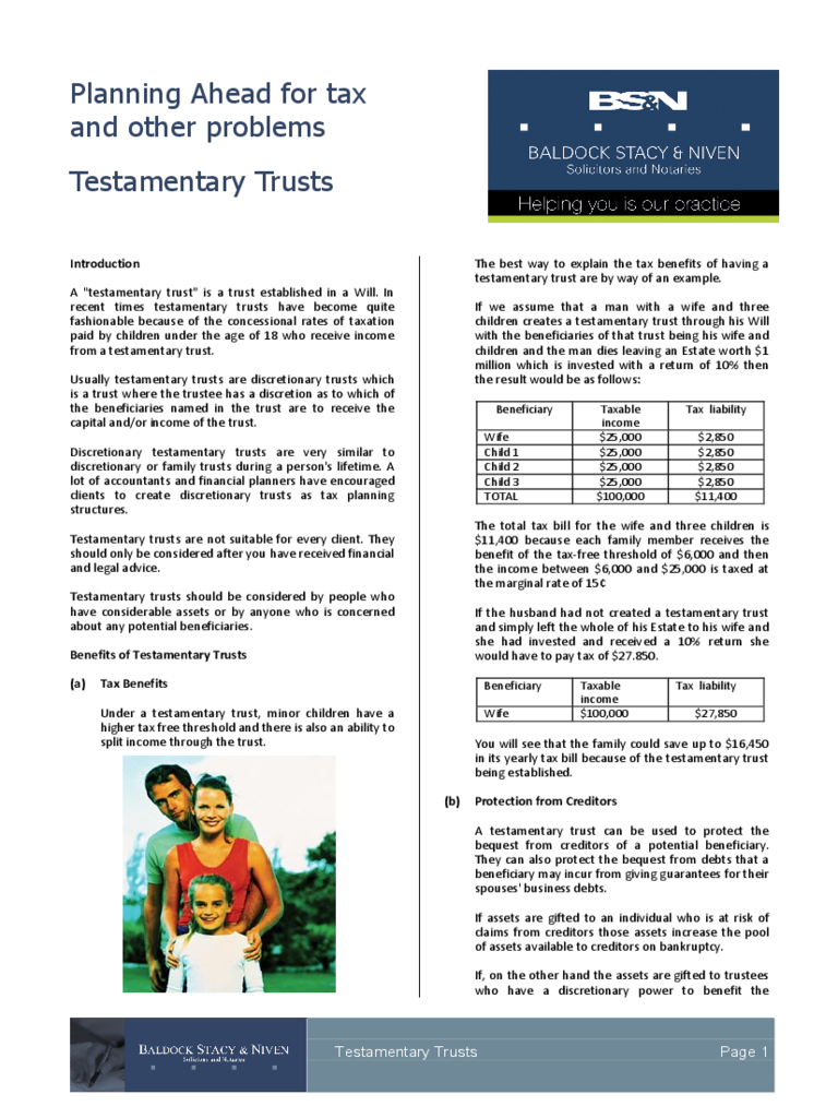 Testamentary Trust Form - 2 Free Templates in PDF, Word, Excel ...