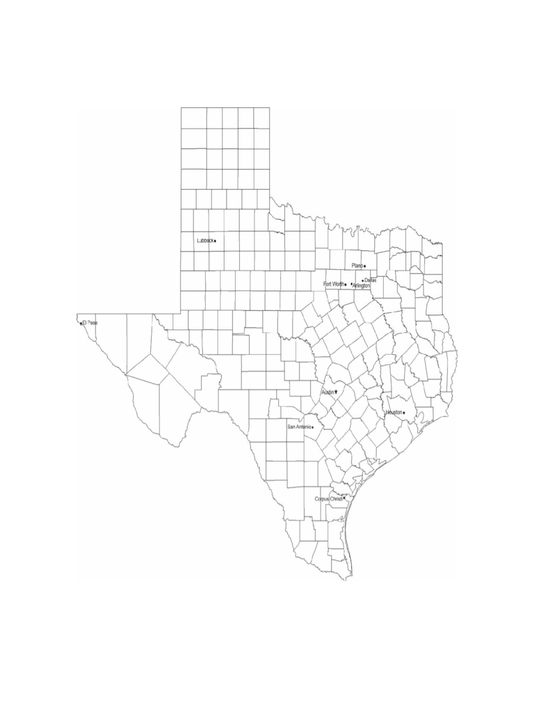 Map of Texas Cities with City Names