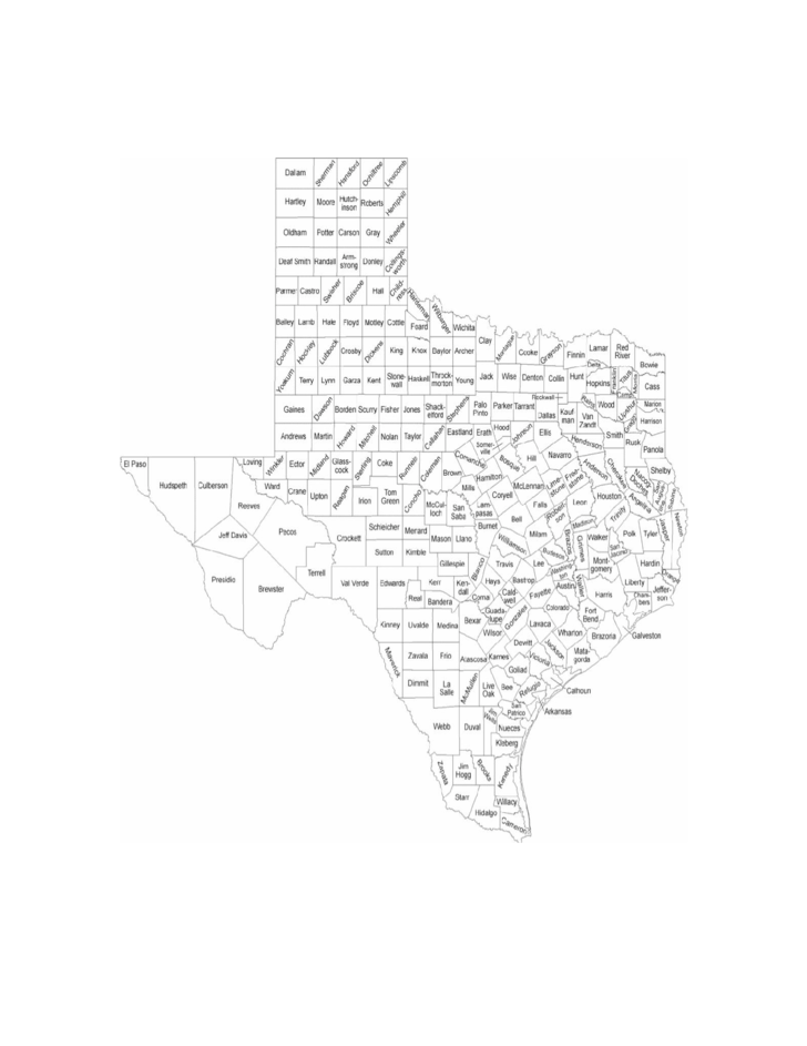 Texas County Map with County Names