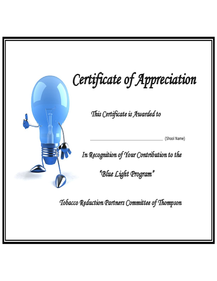 Sample Thank You Certificate Template Free Download