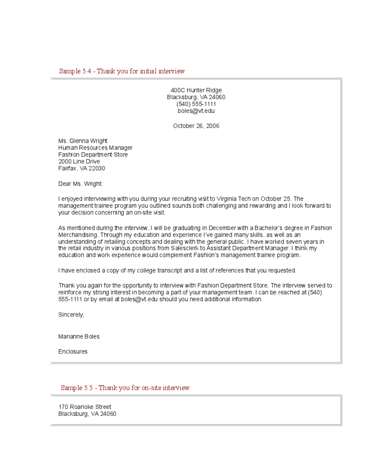 Interview Thank You Letter Samples Free Download 1 Interview Thank You Letter Samples