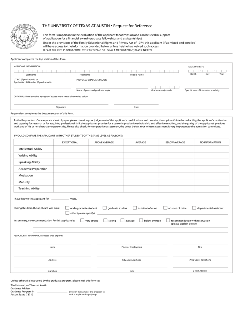 the university of texas application form