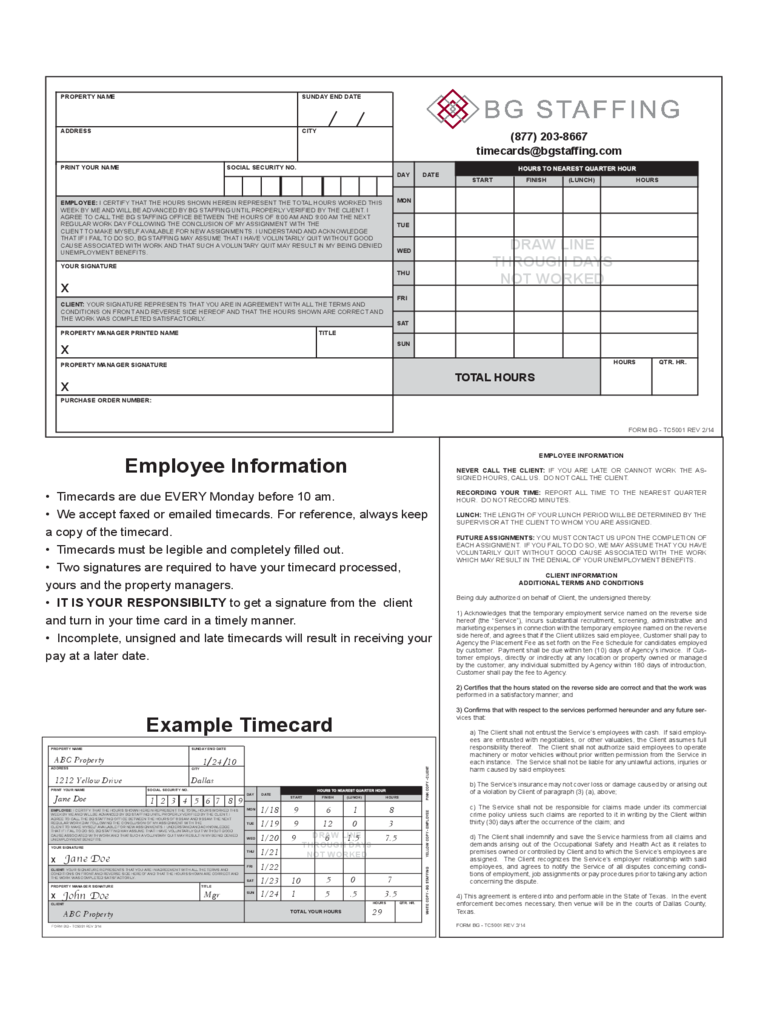 Employee Information Example Timecard