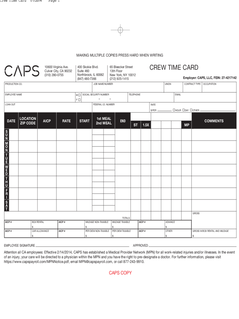 CAPS Crew Time Card