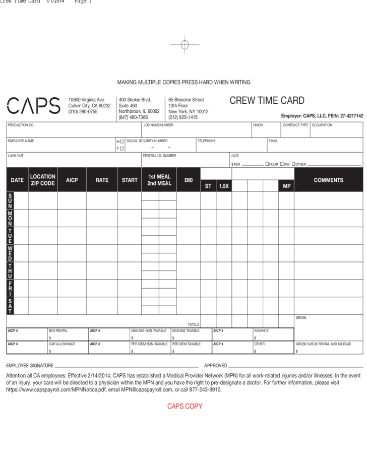 caps crew time card free download