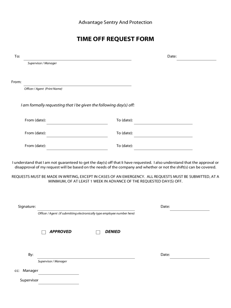 Time Off Request Form 5 Free Templates in PDF Word Excel Download – Request Form