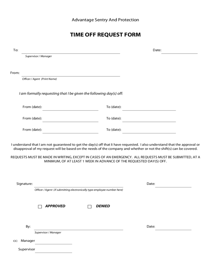 1 Employee Time Off Request Form Format  Free Employee Termination Form