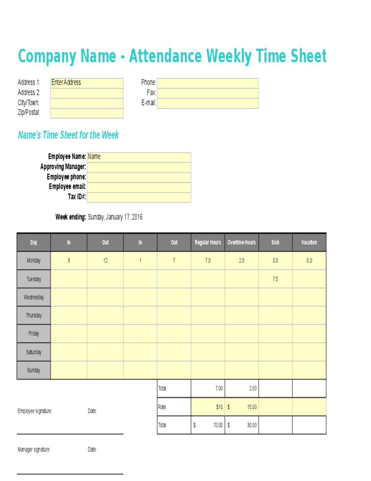 weekly time sheet template free download
