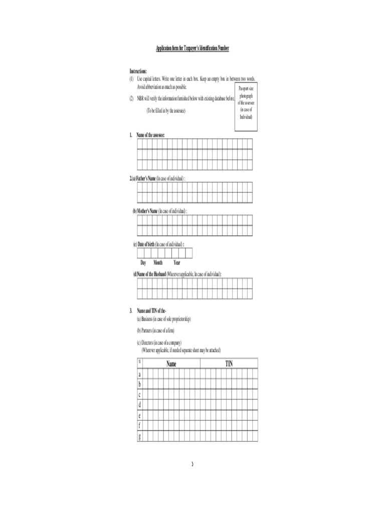 Application Form for Taxpayer's Identification Number