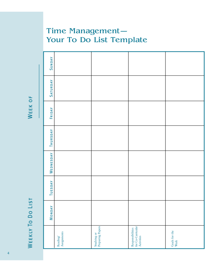 weekly to do list template free download