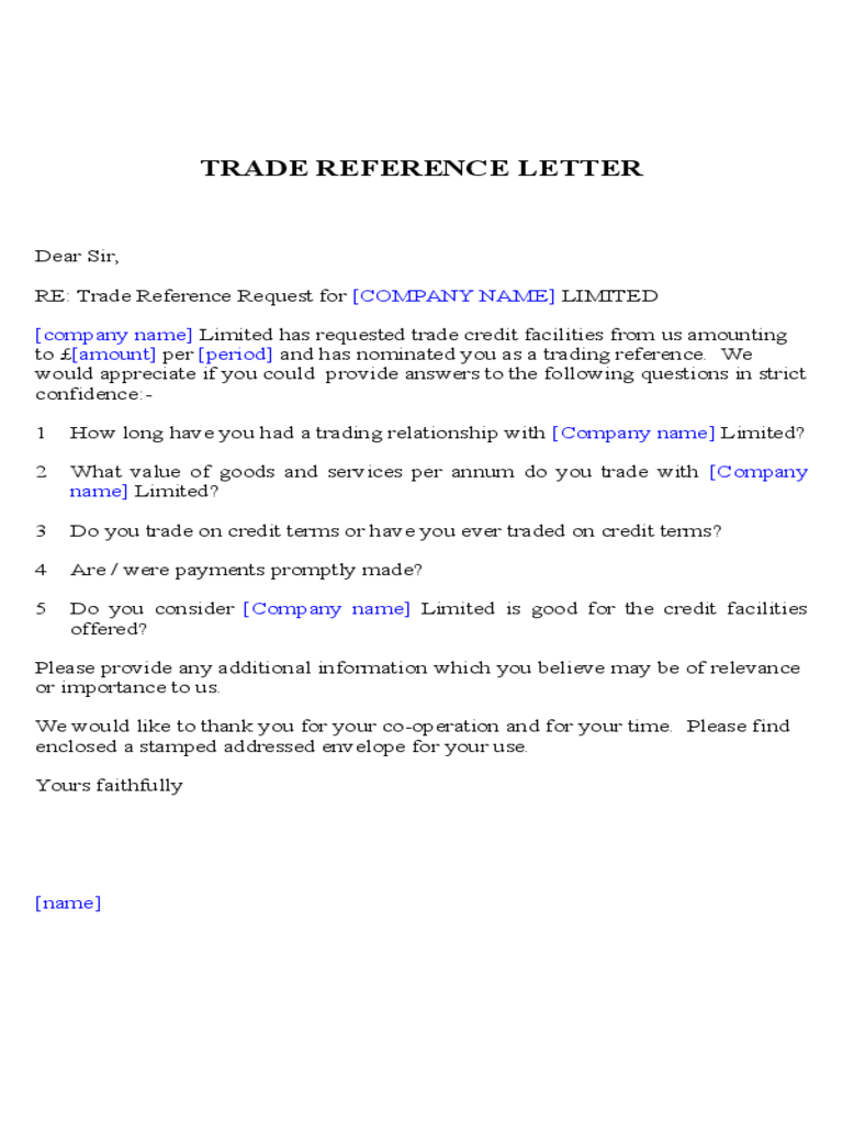 Exceptional Trade Reference Letter Sample