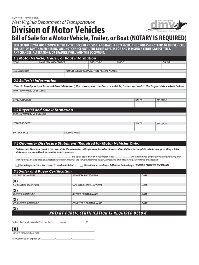 Trailer Bill of Sale Form - West Virginia