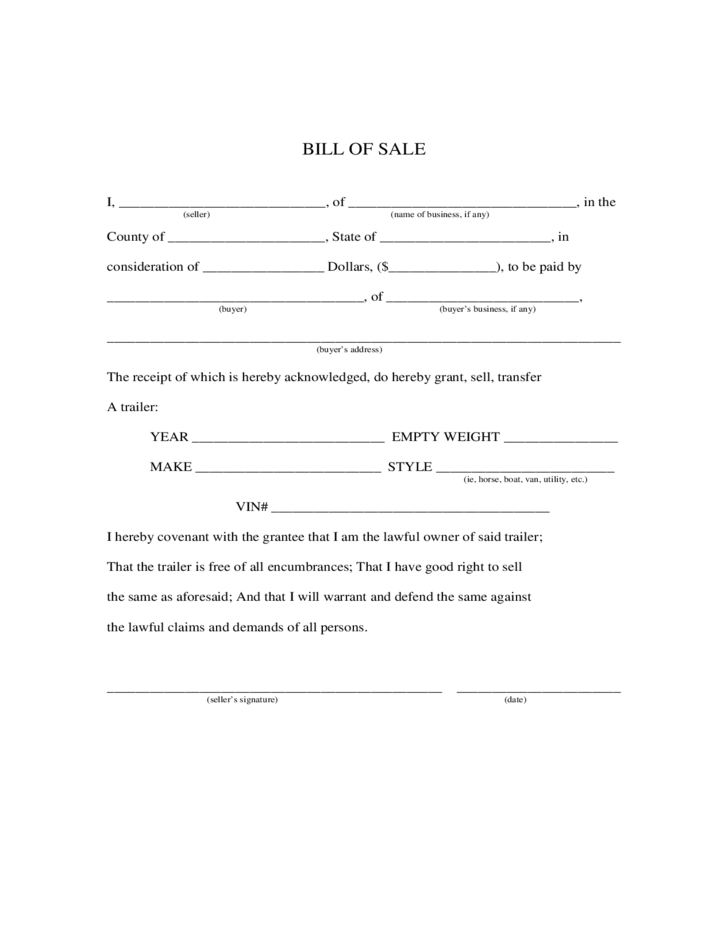Trailer Bill of Sale Form - Maine Free Download