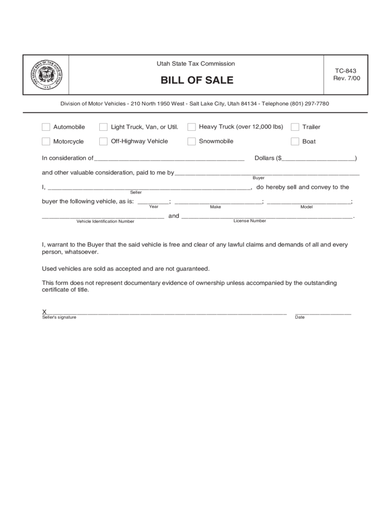Trailer Bill of Sale Form - 6 Free Templates in PDF, Word, Excel ...