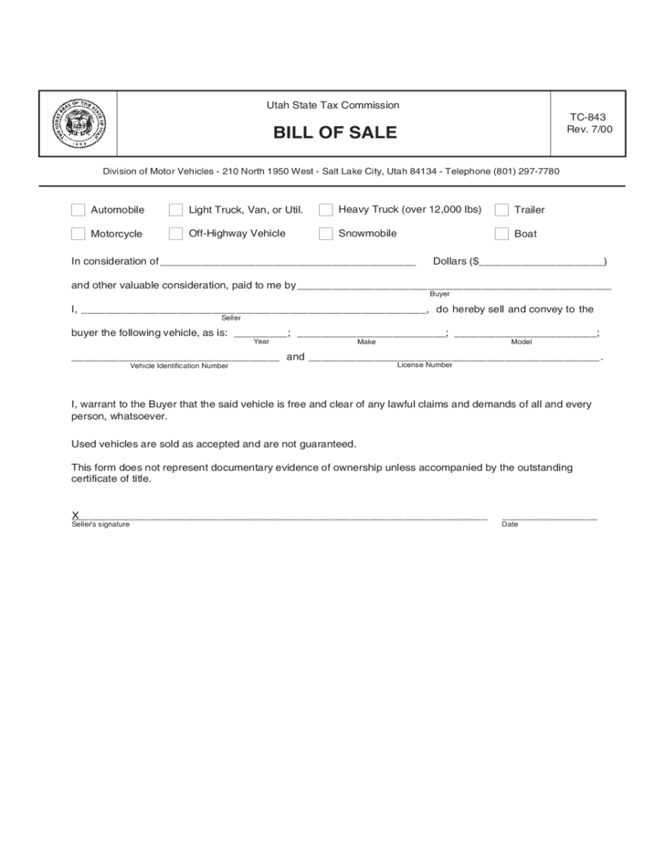trailer bill of sale form sample utah free download