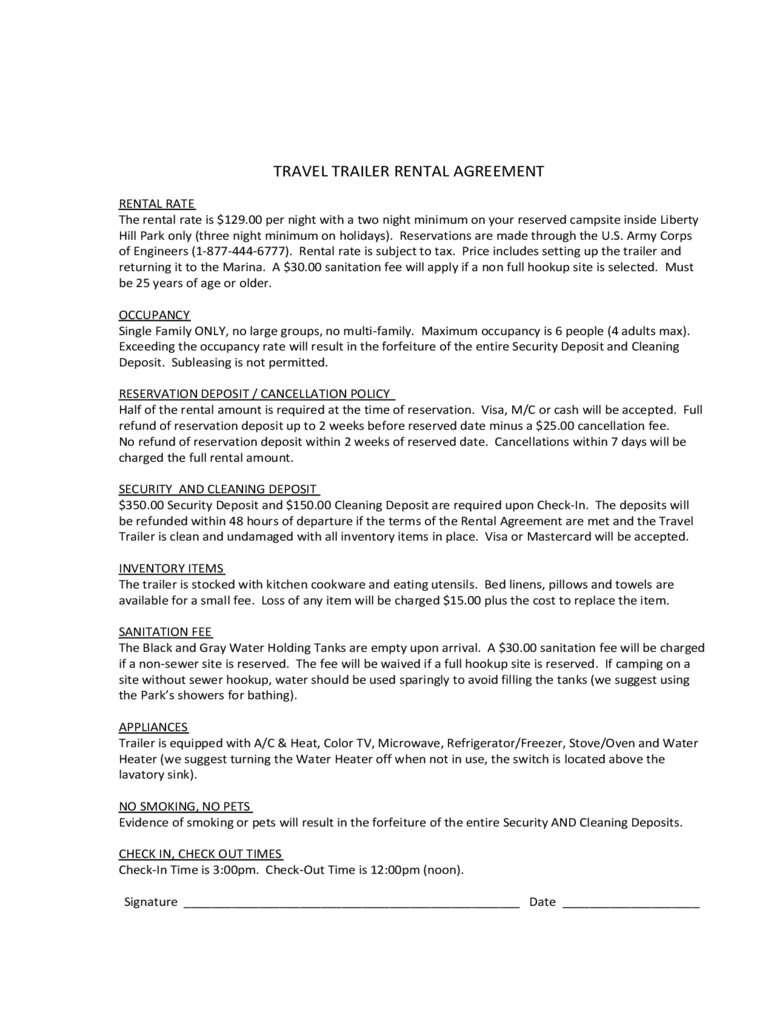 Trailer Rental Agreement 6 Free Templates in PDF Word Excel
