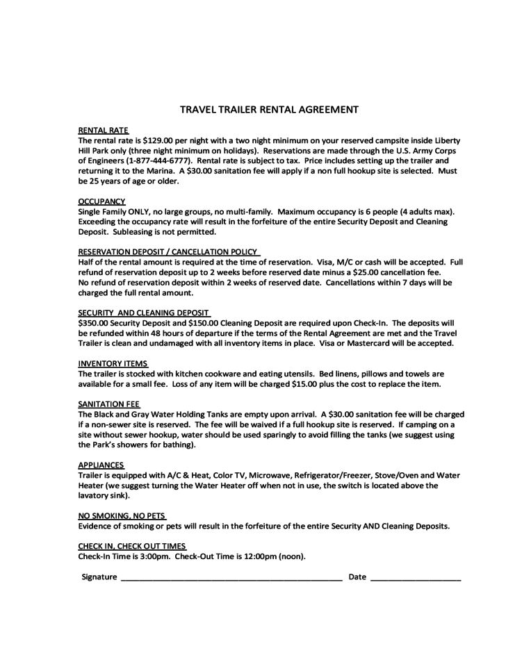 Travel Trailer Rental Agreement Free Download – Trailer Rental Agreement Template