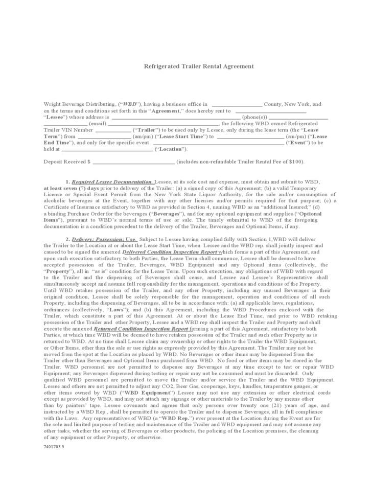 Free Trailer Rental Agreement Forms Timeslab A Time Series