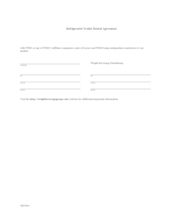 Refrigerated Trailer Rental Agreement Free Download