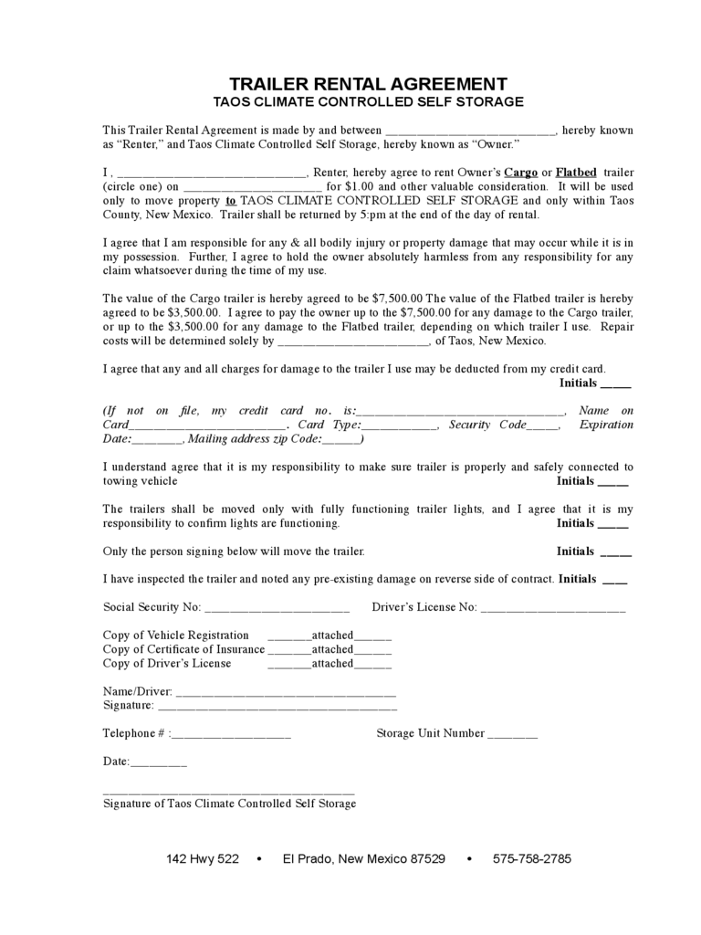 Trailer Rental Agreement 6 Free Templates in PDF Word Excel – Blank Rental Agreements