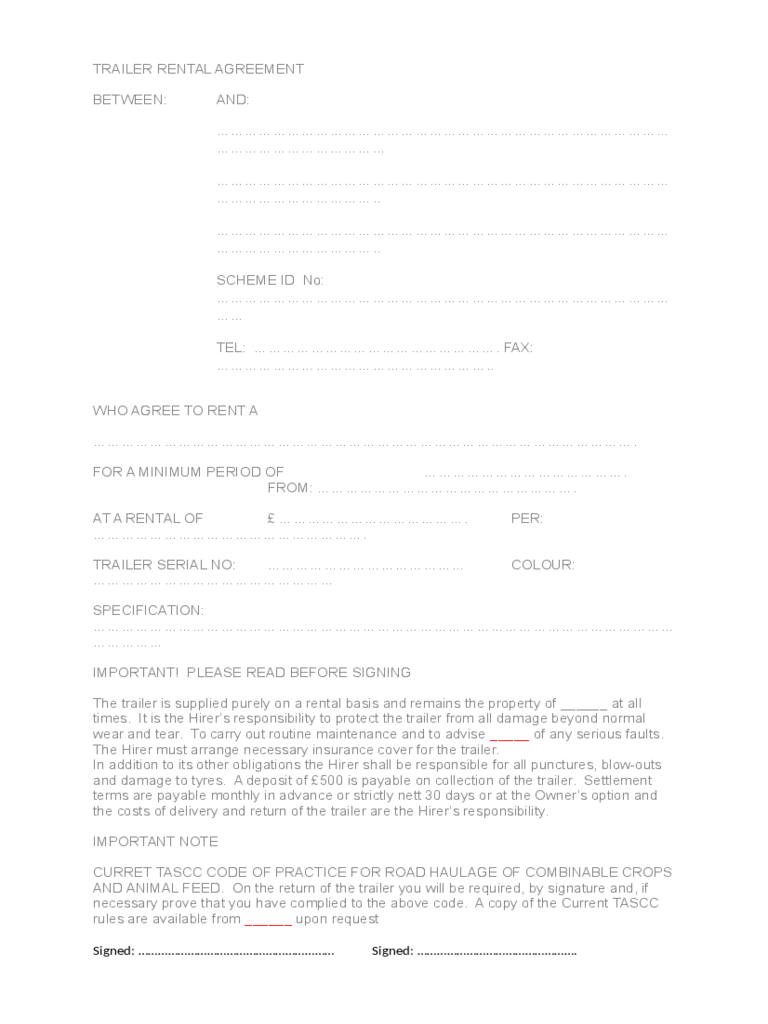 Trailer Rental Agreement 6 Free Templates In Pdf Word