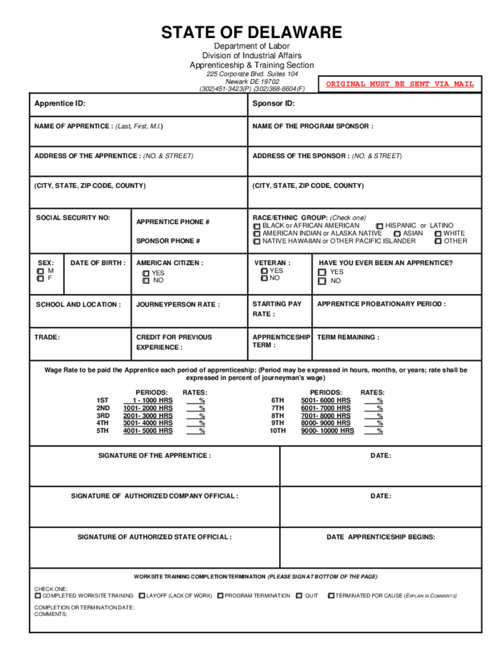 Apprenticeship And Training Agreement Form Delaware Free Download