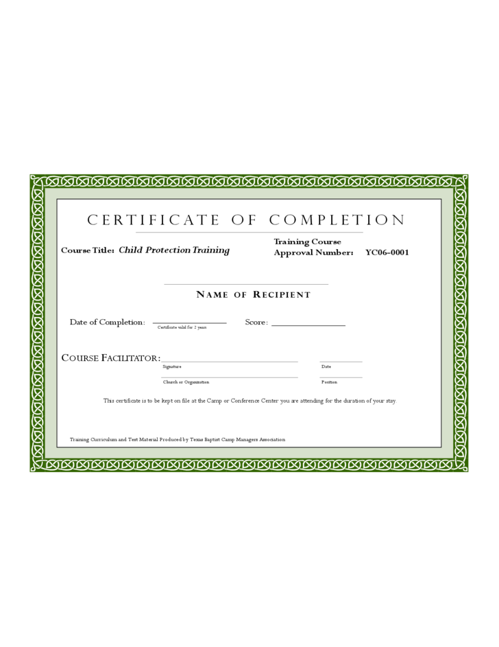 Sample Training Completion Certificate Template