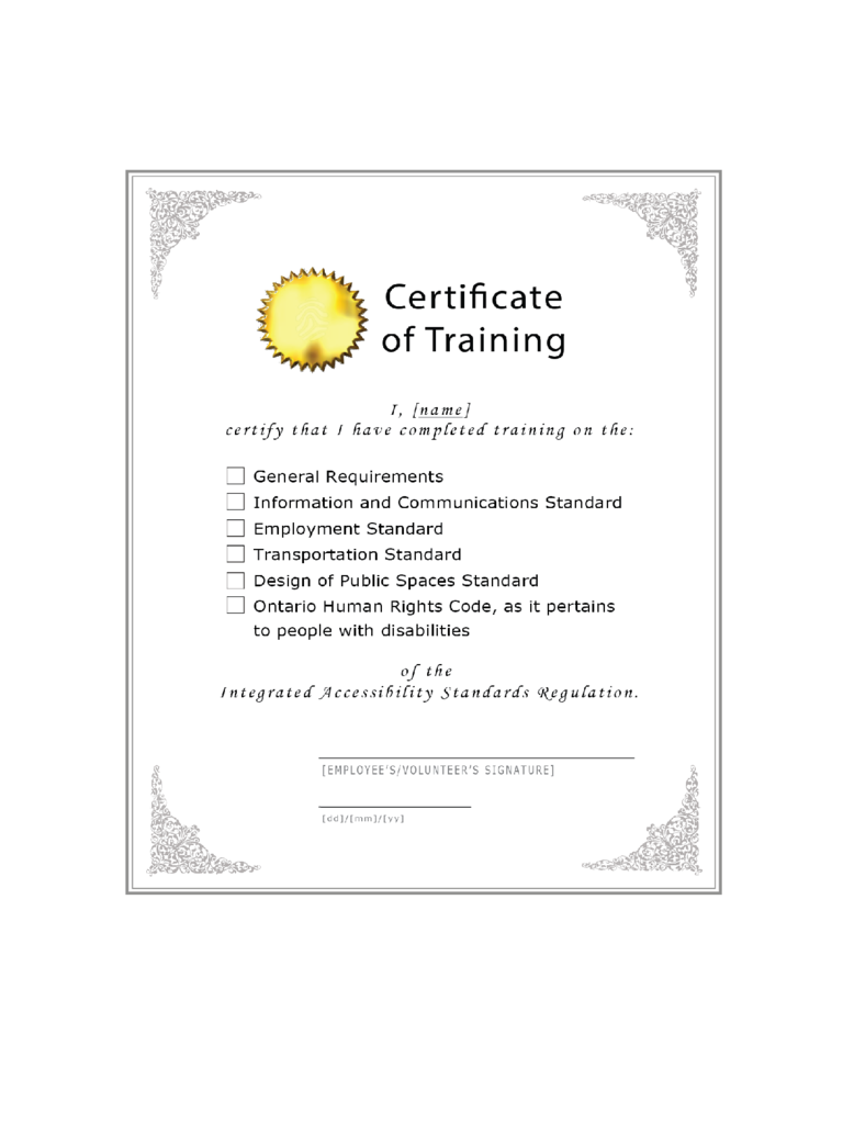 Blank Sample Certificate of Training