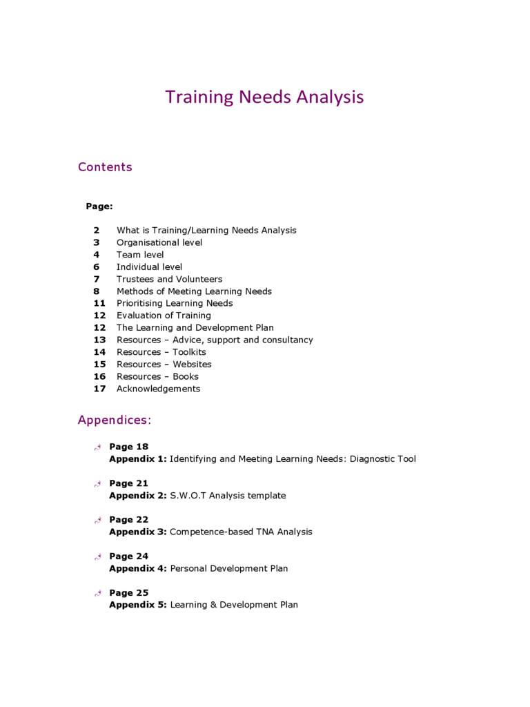 Training Needs Analysis Template - 5 Free Templates in PDF, Word ...