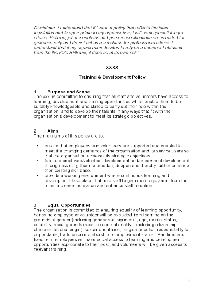 Training & Development Policy