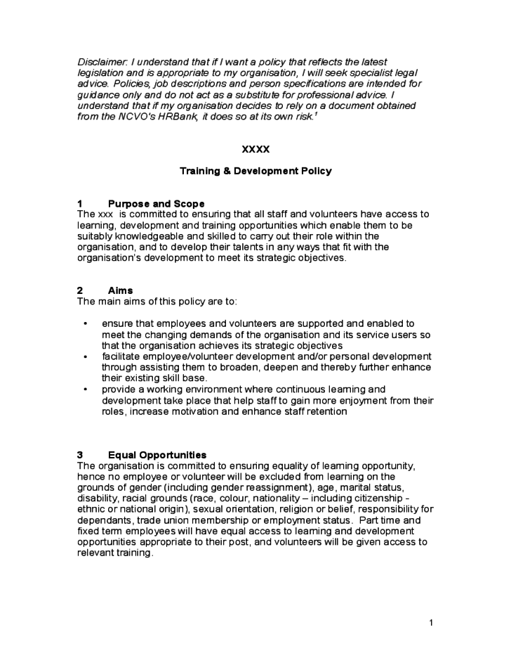 training  u0026 development policy free download