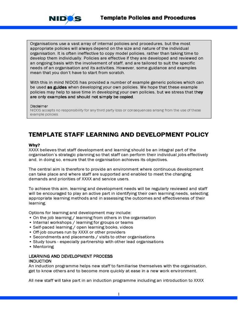 Template Staff Learning And Development Policy