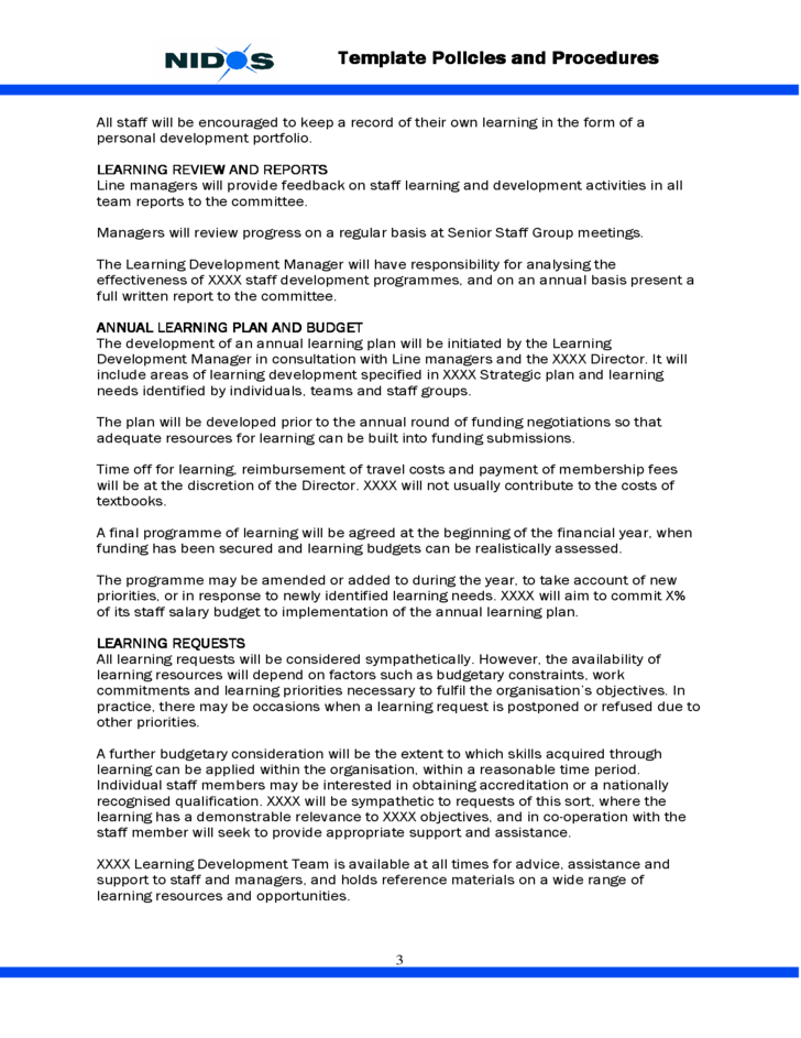 template staff learning and development policy free download