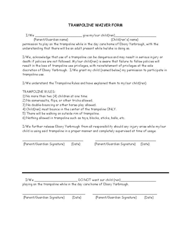 Trampoline Waiver Sample Form Free Download